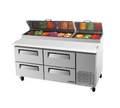 Turbo Air Four Drawer Pizza Prep Table - TPR-67SD-D4