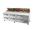 Turbo Air Six Drawer Pizza Prep Table - TPR93SD-D6